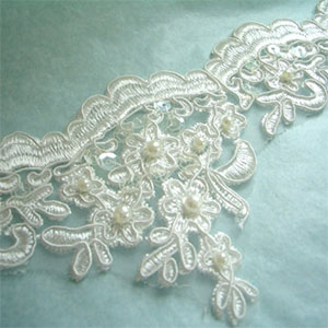 Embroidered Lace Beaded Trim