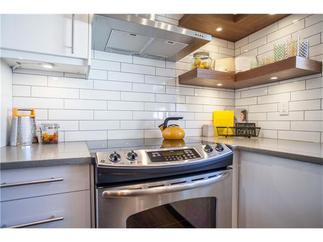 Floor to ceiling subway tile backsplash