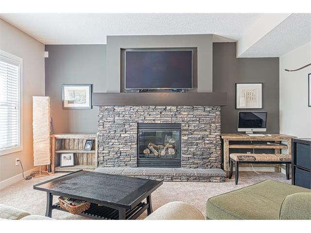 Basement family room accented by stone trimmed second fireplace.
