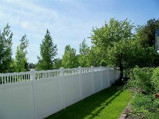 Back yard with maintenance free fence.