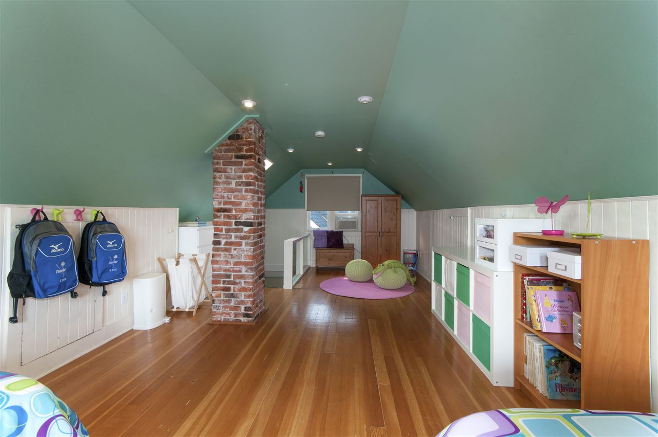 There is storage on both sides of this once upon a time attic and this room also functions as a play room... 347 sq ft in total.  During the 2007 renovations, a plumbing stack was run to the upstairs for a future bathroom.