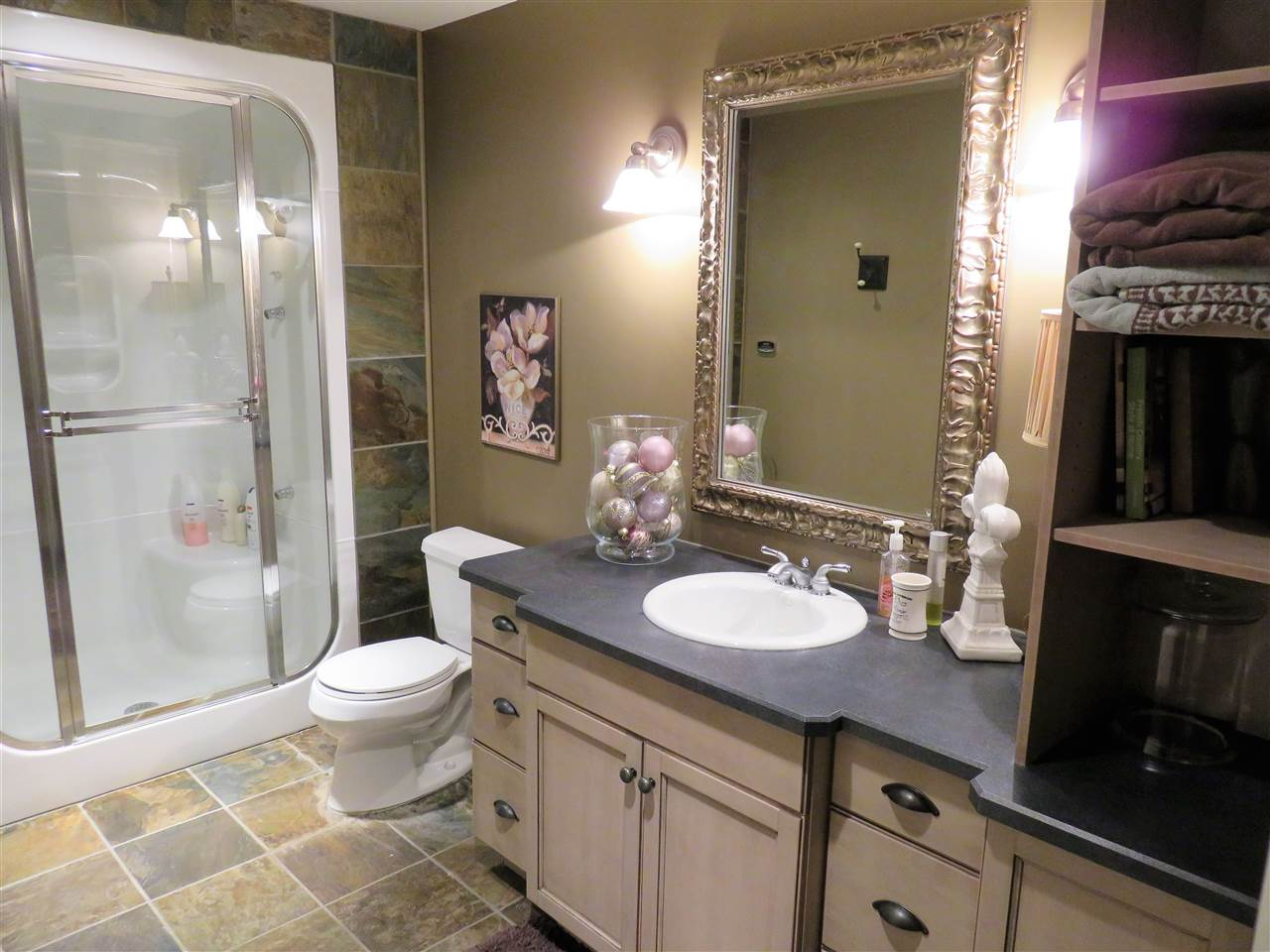 Basement Bathroom!...Note the STEAM SHOWER & FULL GRANITE TOO! :)