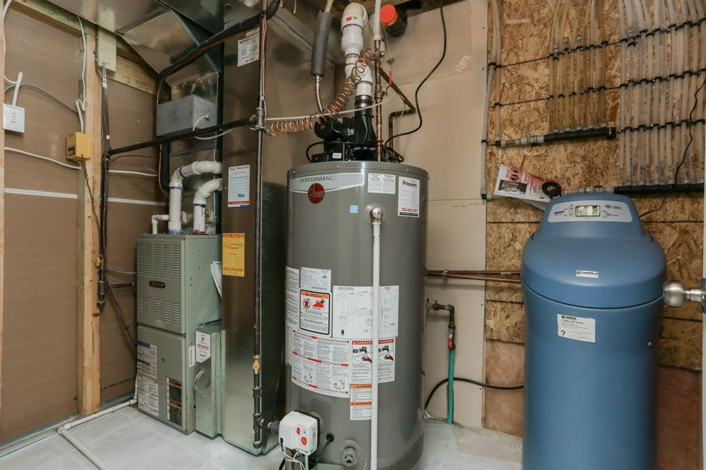 includes sump, water softener, high efficiency hot water and furnace... don't forget central air conditioning!!!