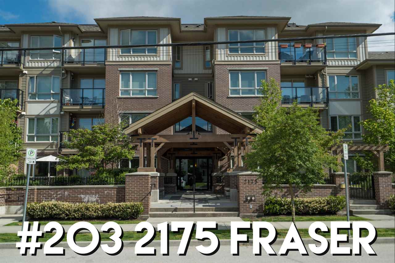 "Main Photo: 203 2175 FRASER Avenue in Port Coquitlam: Glenwood PQ Condo for sale in ""The Residence on Shaughnessy"" : MLS®# R2268419"