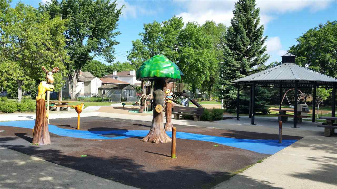 This spray park is just 2 blocks west on 102 ave, in Mary Hanley Park. A great place for little ones on a hot summer day.....or not so little ones.