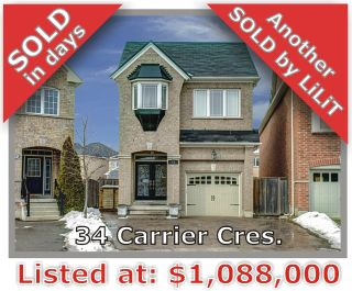 Main Photo: 34 Carrier Crescent in Vaughan: Patterson Freehold for sale