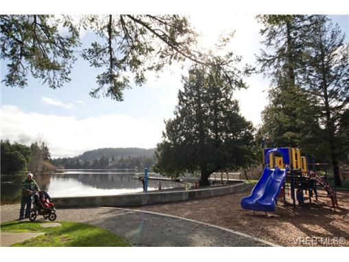 Waterfront playground, beach, dock, and walking trail at Glen La
