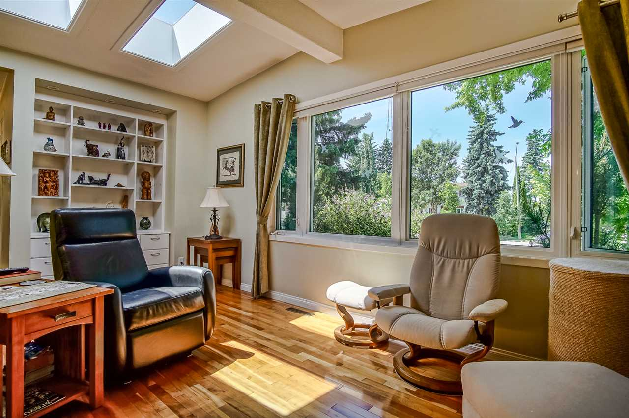 Bright Living Room with two Skylights and built in Shelving