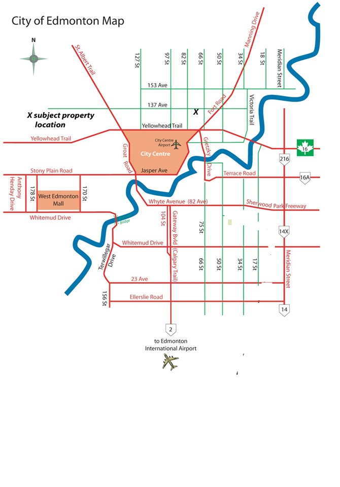 City of Edmonton map showing location of subject property.
