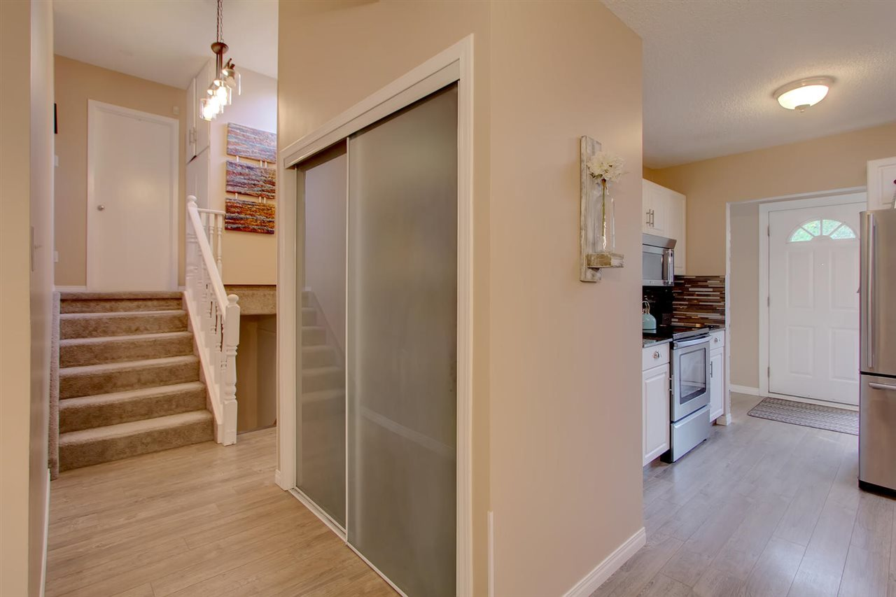 There is a large pantry closet between the kitchen and the hallway leading up to the bedroom level. You will have more than enough space to store extra items and cleaning materials.