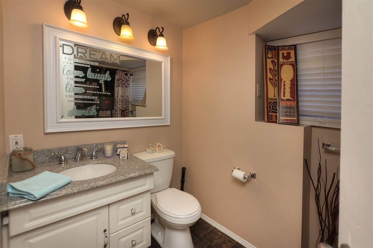 The lower level bathroom is a two piece. This makes the recreation room handy when the kids have their friends over.