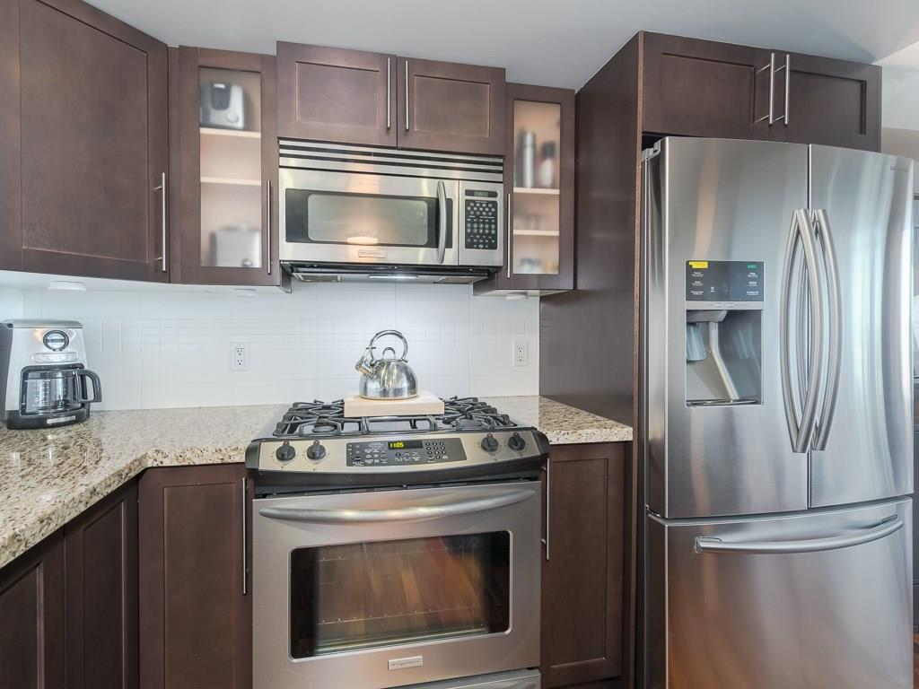 Upgraded stainless steel appliances.