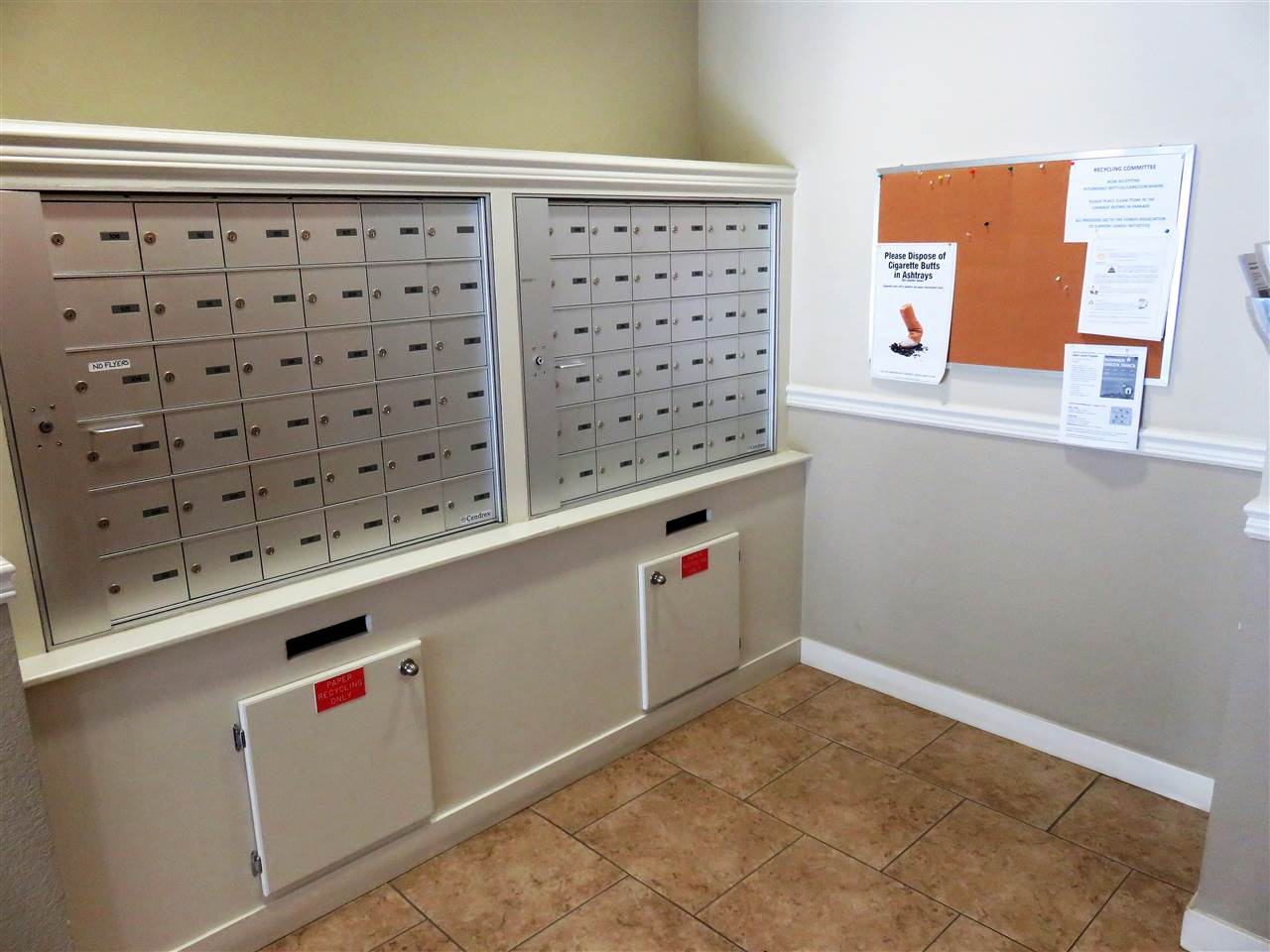 View of the secure Mailboxes inside the front entrance around the corner! :)