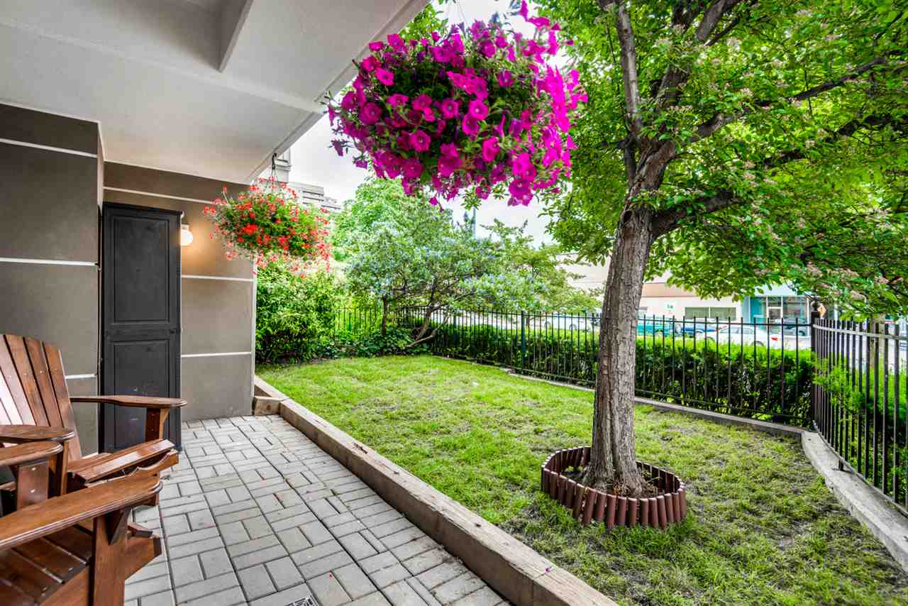 Patio with private green space