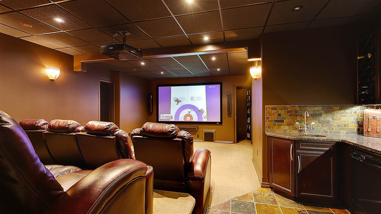 Sound proof media room comes with 8 leather automated chairs with cup holders. HDMI / VGA wired. All Built-in wiring completed for any AV system