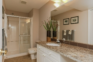 Lower level guest bathroom with granite counters