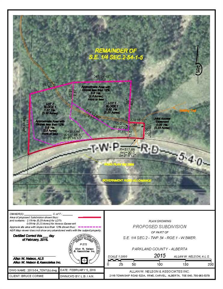 Main Photo: 2, 1112 Twp RD 540: Rural Parkland County Rural Land/Vacant Lot for sale : MLS® # E4044206