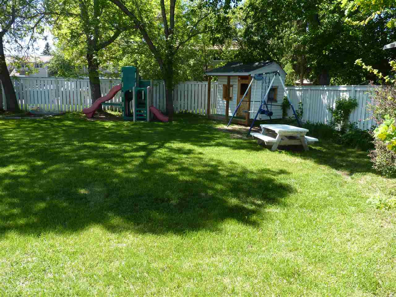 Playhouse and swingset are staying.