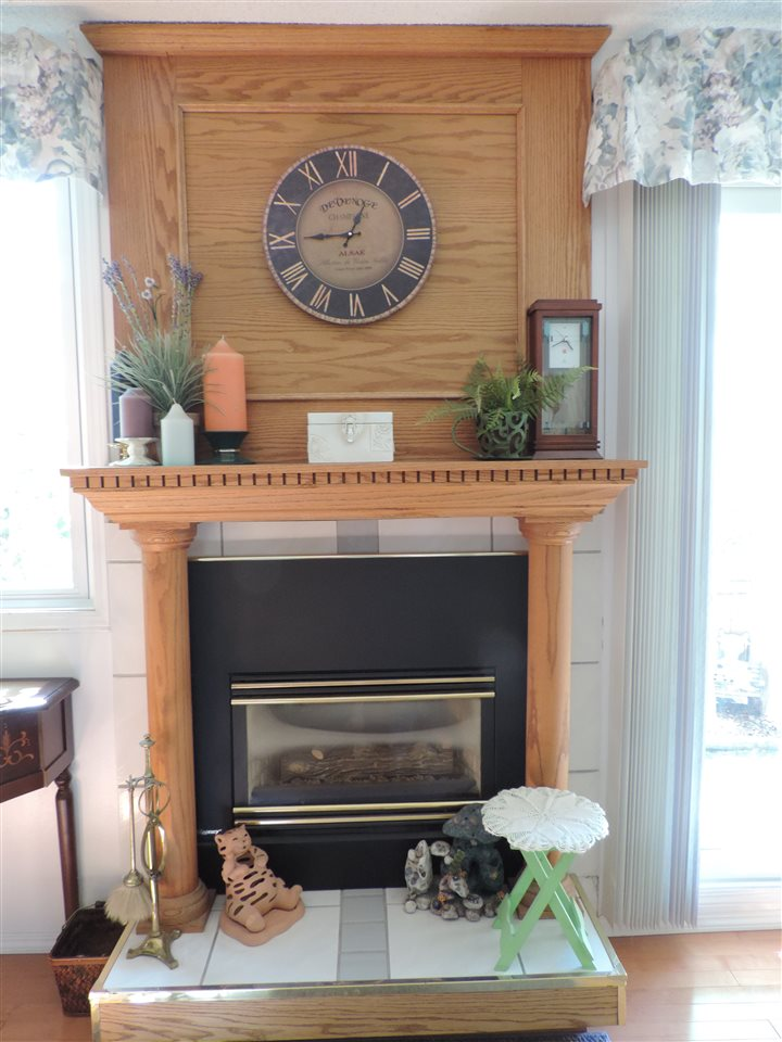This fireplace has an easy maintenance gas insert for cozy winter evenings.