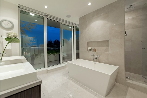 spa-like ensuite with balcony