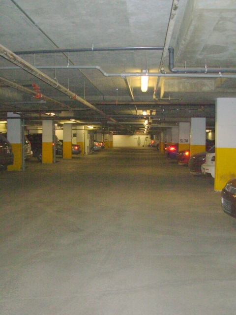 Well lit, warm, and clean underground parking complete with a handy car wash!