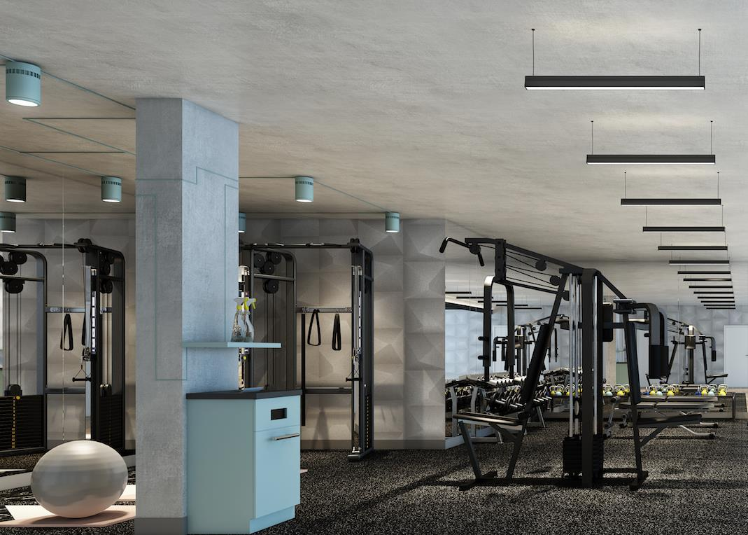 weight area as well as yoga studio all on the 16th floor