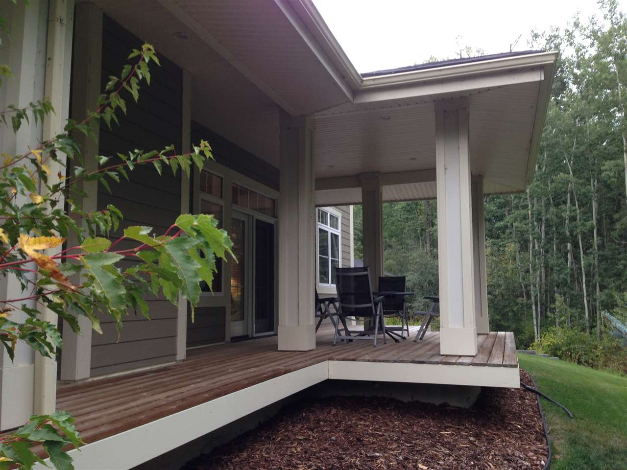 the verandah facing onto a naturally treed creek