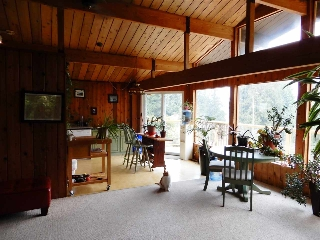 Enjoy the vaulted cedar ceilings which exudes a cozy cottage feel to this cabin.