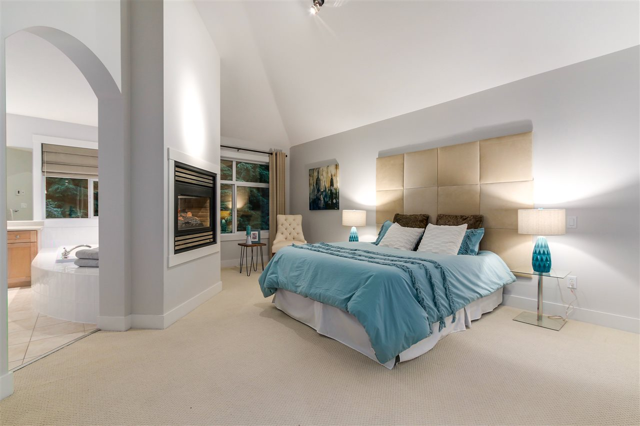 This unique Master bedroom is a spacious comfortable getaway at the end of the day.  Also, a double sided fireplace for those cold nights.