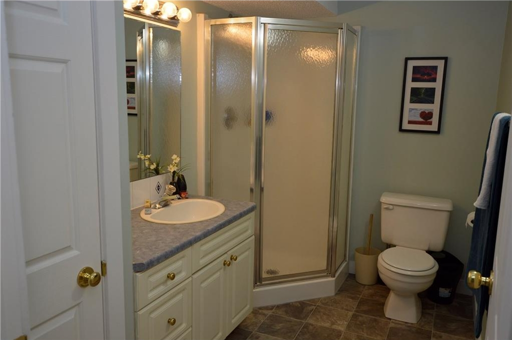 Basement Bathroom with linen closet