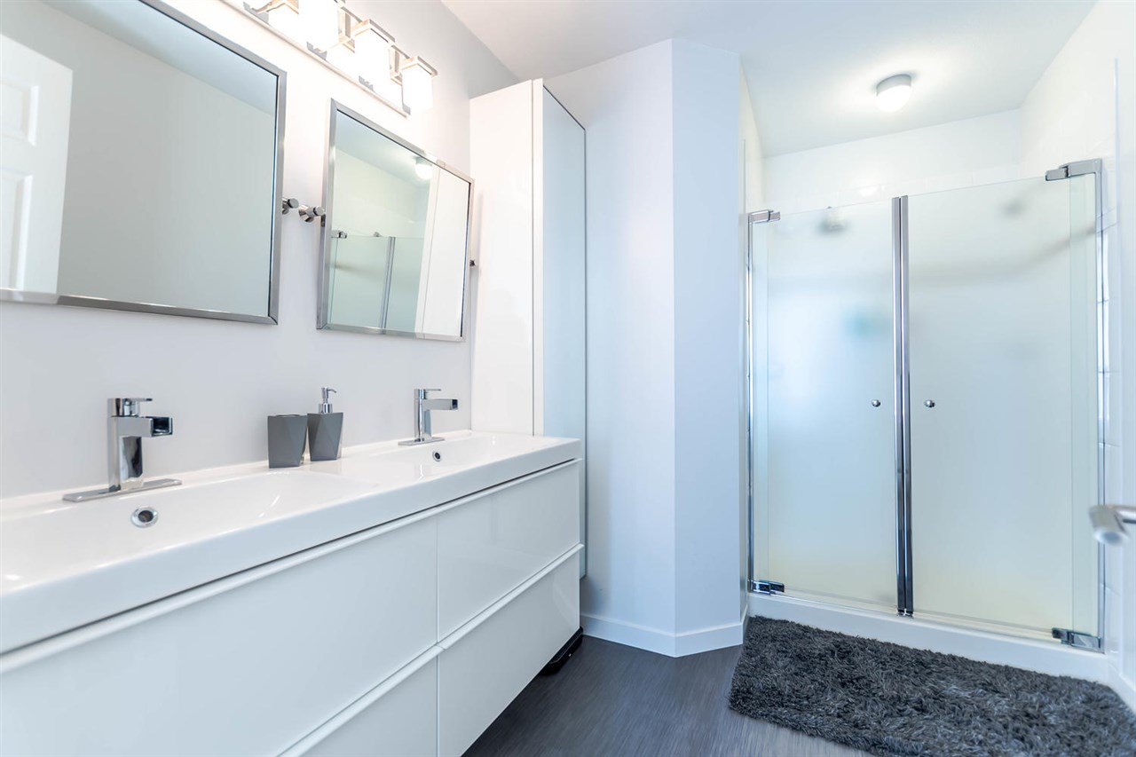 Updated Master ensuite boasts dual sinks and walk in shower