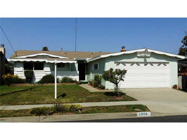 Main Photo: CLAIREMONT House for sale : 3 bedrooms : 3966 Anastasia Street in San Diego