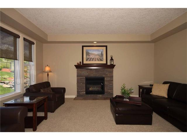 Cozy gas fireplace with stone surround in the carpeted living room area.