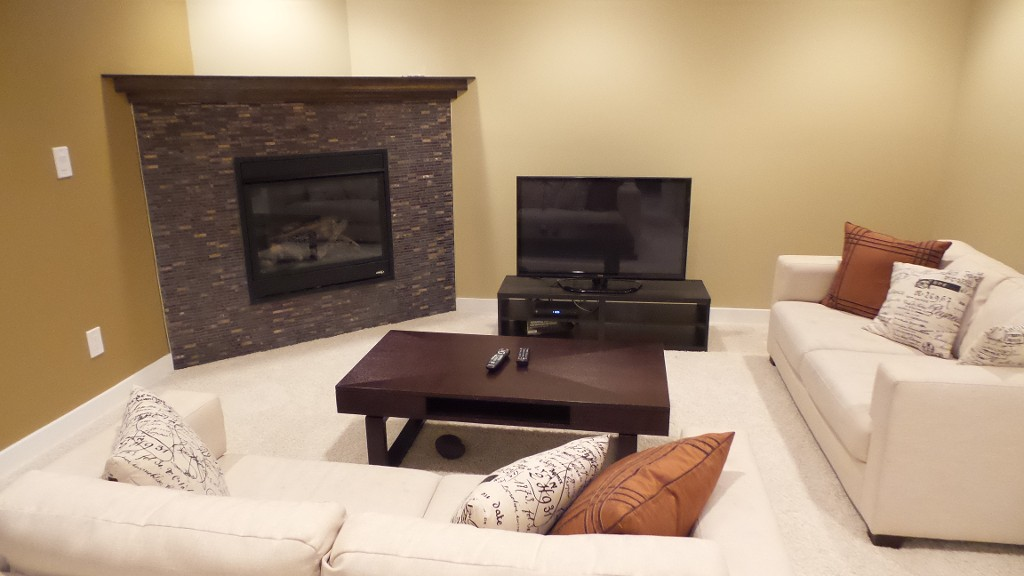 Family room in basement