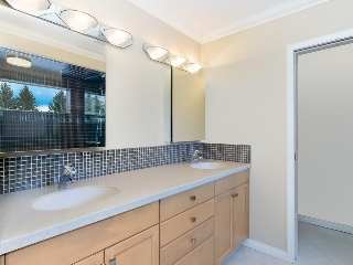 Dual vanity sink in ensuite bathroom.
