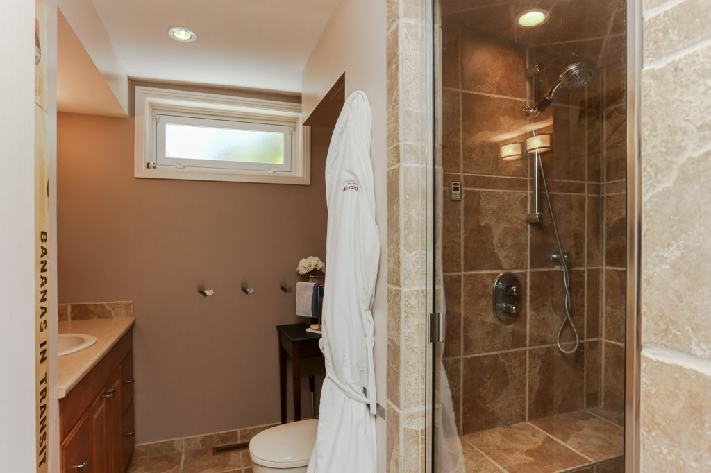 Basement bathroom is 3 piece, complete with a steam shower.