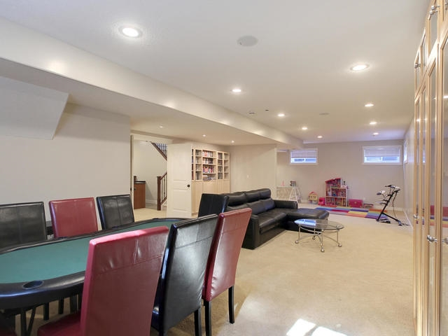 Games area for pool table or larger card table.