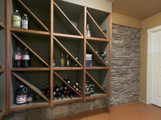 Custom built wine holder stone wall and accents.