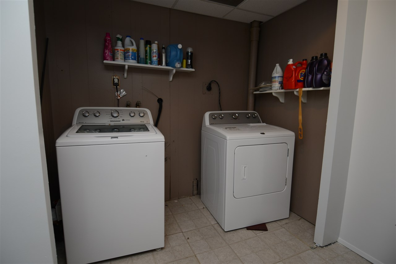 laundry area in basement