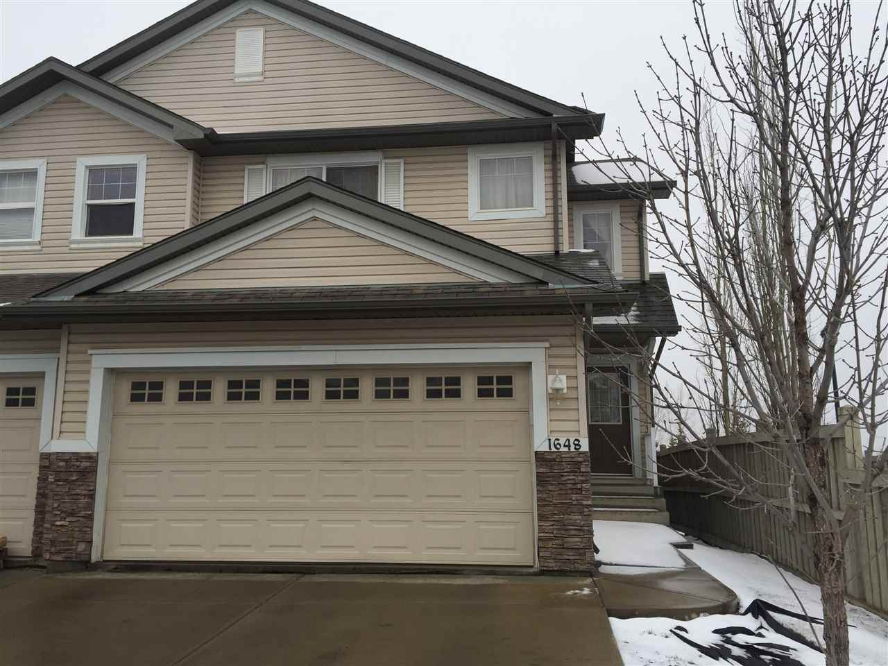 Main Photo: 1648 MELROSE Place in Edmonton: Zone 55 House Half Duplex for sale : MLS(r) # E4061312