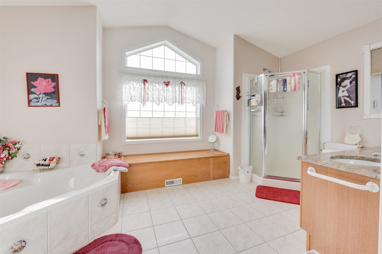 5 piece ensuite with soaker tub, stand alone shower and double sinks.