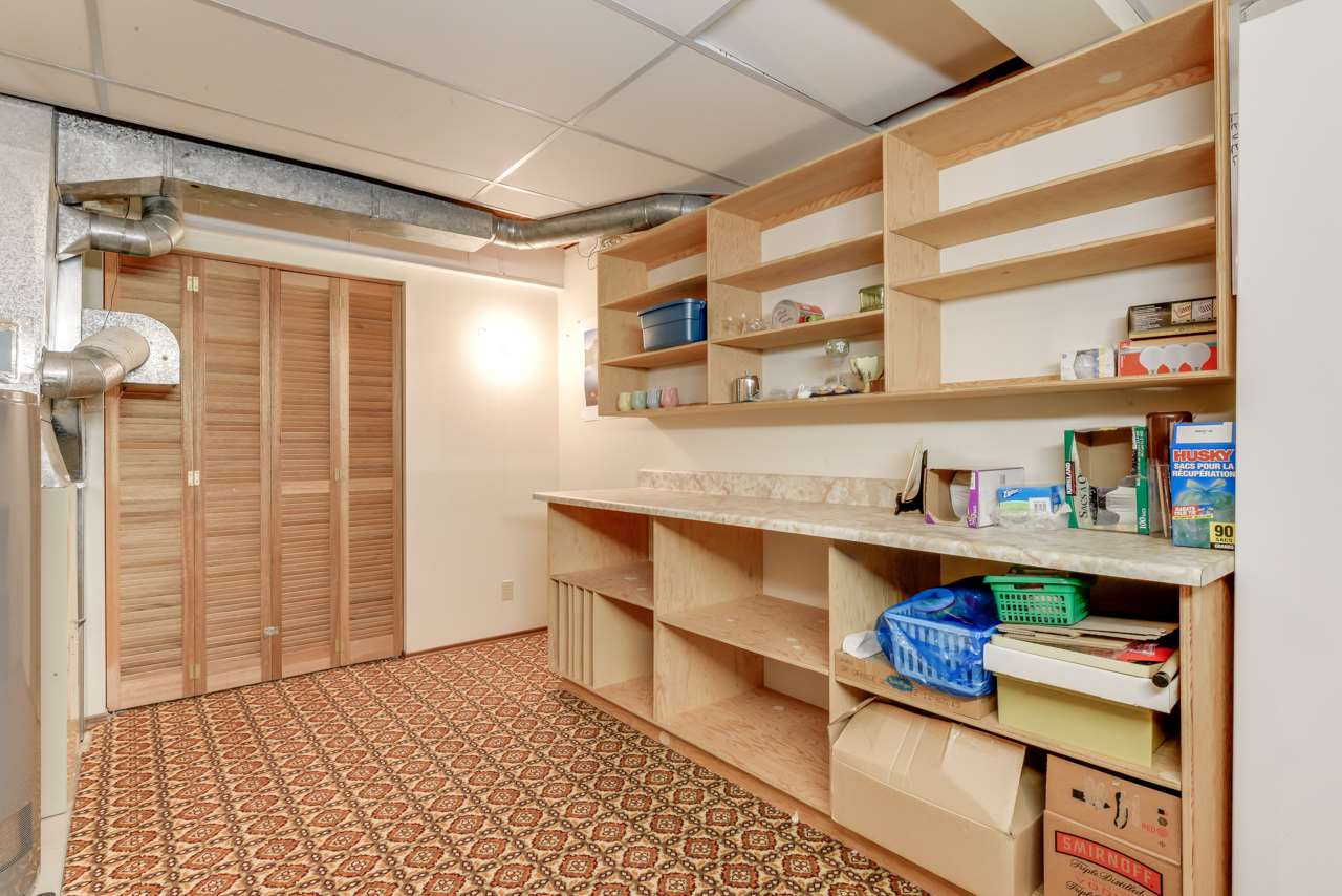 excellent storage space in basement, just off the the laundry area