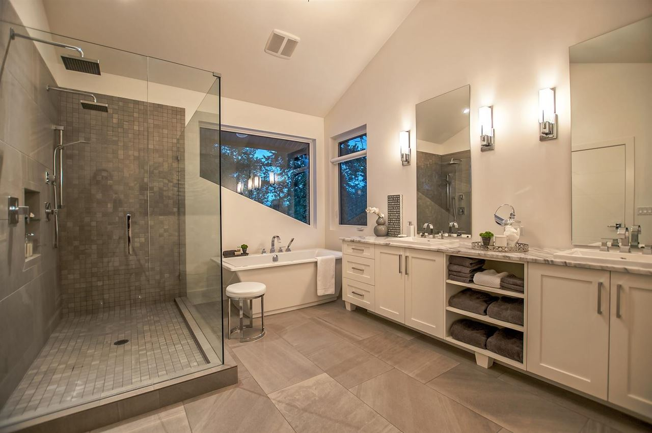 Master ensuite spa with large walk-in shower, soaker tub and dual sinks