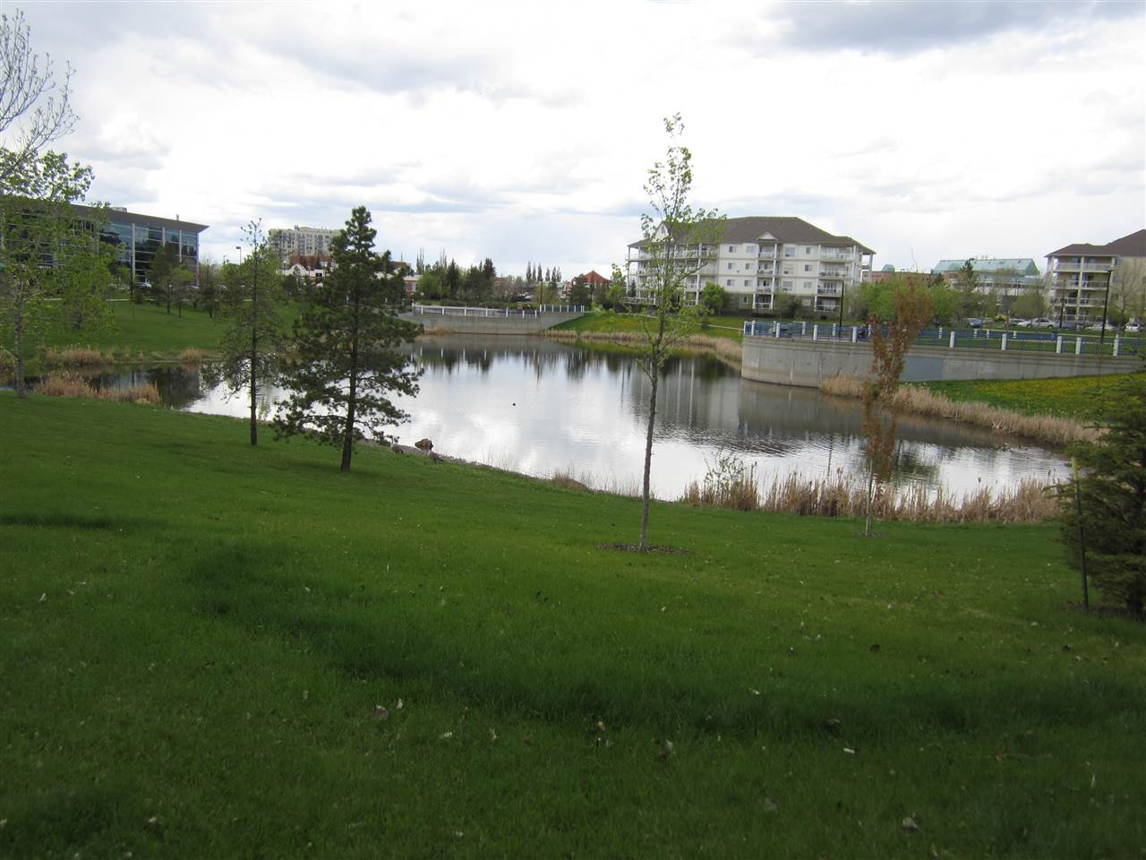 Large Pond with trails can take you to medical offices, public transit or library
