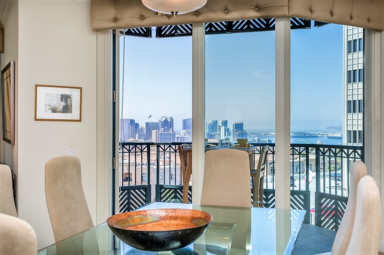 Dining Area with stunning Downtown and Bay Views
