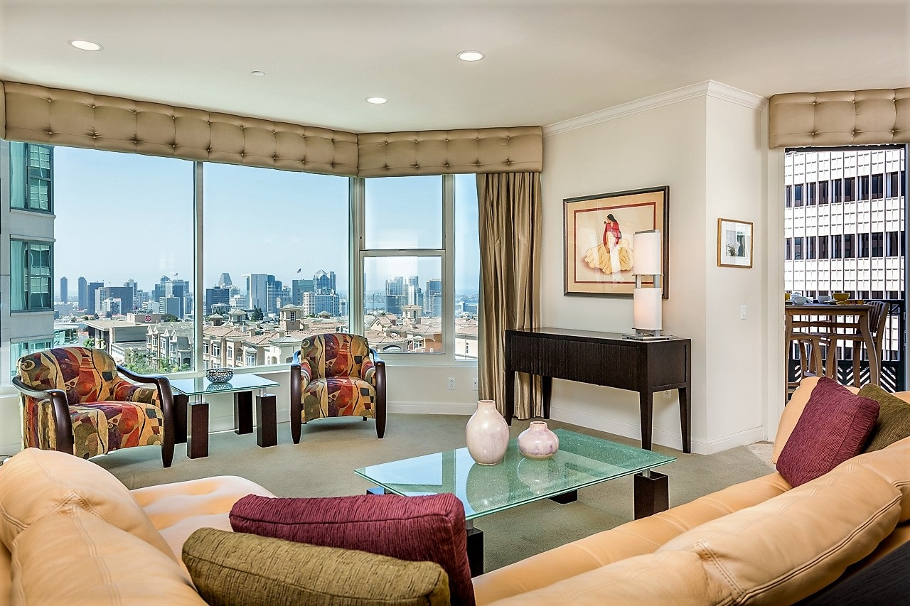Living Room with beautiful Downtown and Bay Views