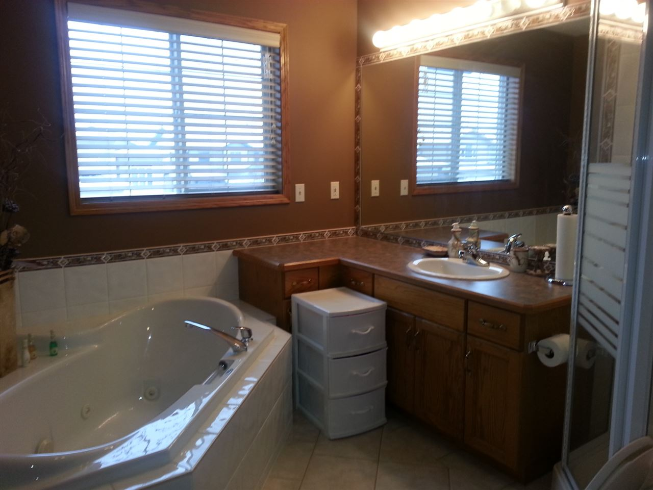 Master bedroom en-suite with corner Jacuzzi and shower
