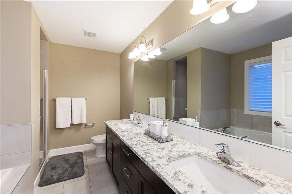 Upgraded master bathroom with double sinks