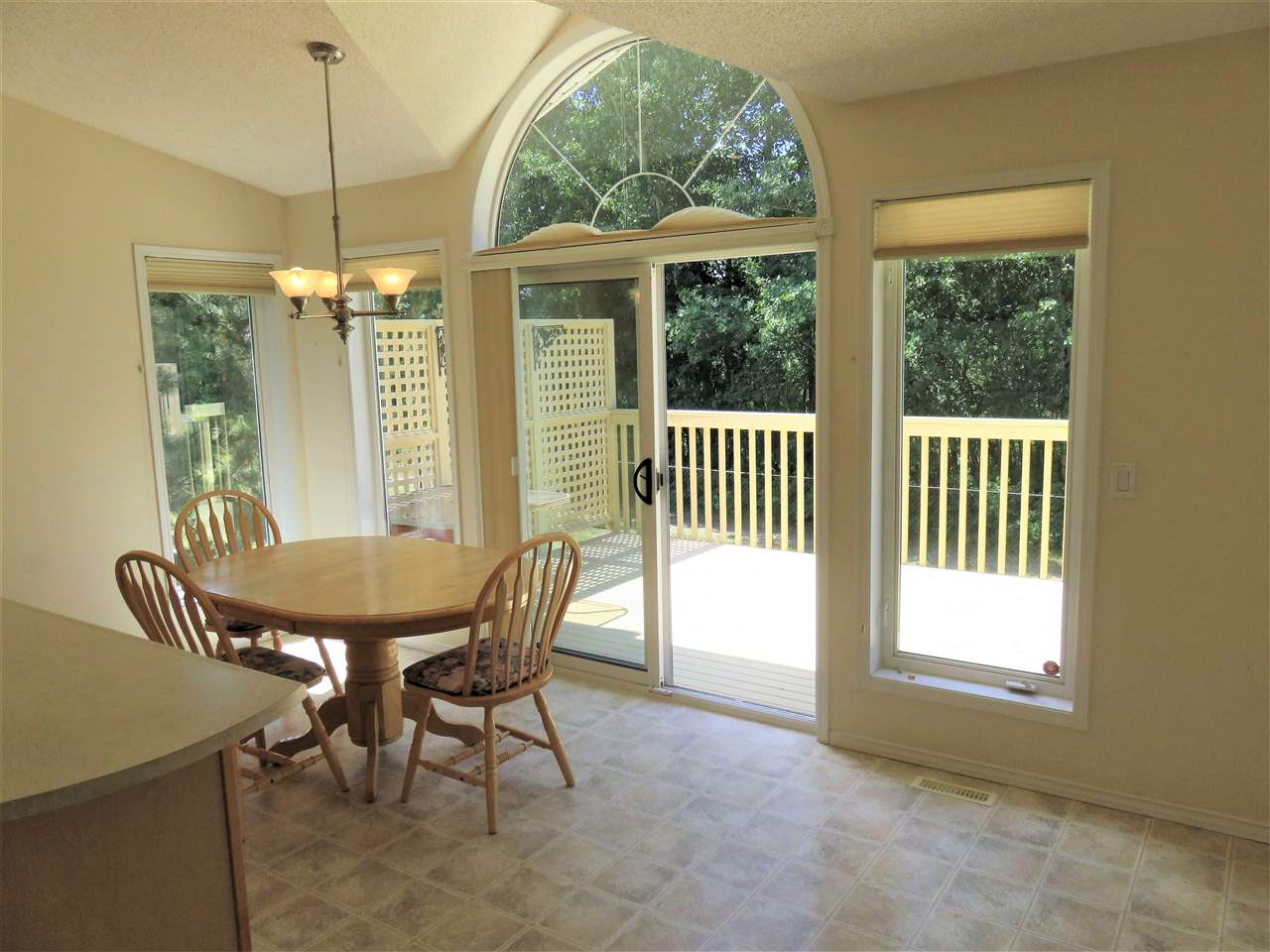 WOW!!..Look at all this space in the Dinette/Breakfast Nook facing the back deck & trees! :)