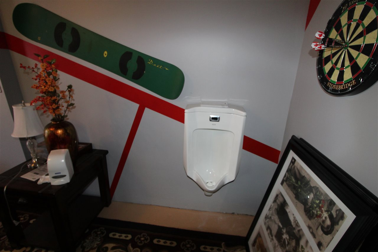 Hydroponics room with auto flush urinal
